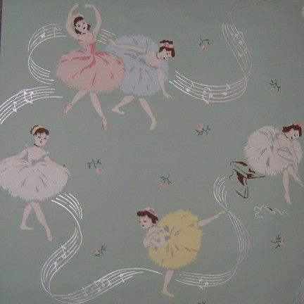 1950's Vintage Ballerina Wallpaper by SewingSiren on Etsy this is soo similar to one of the layers in our front room