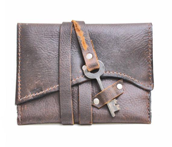 Leather Tobacco Pouch - Distressed Leather Tobacco Case - Steampunk Cigarette…