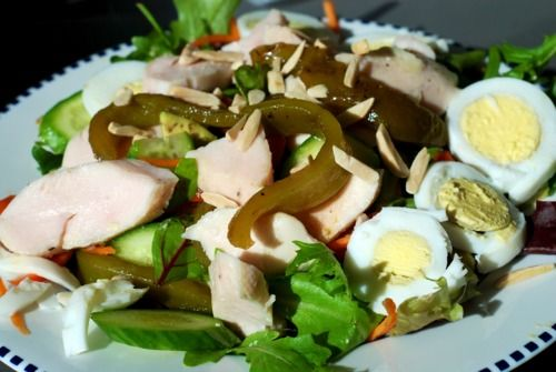 Chicken Salad with Roasted Bell Peppers and Toasted Almonds