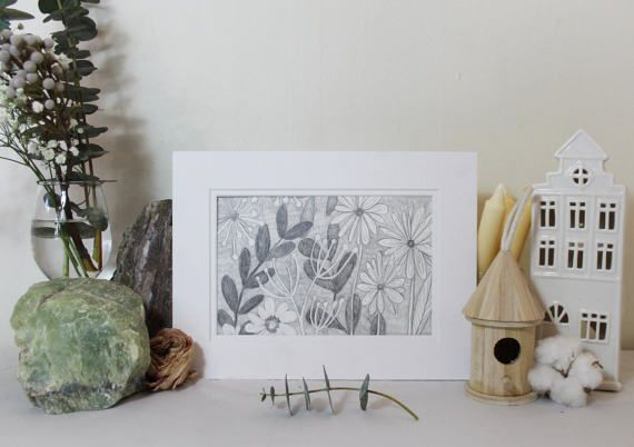 Summer Florals pencil drawing Original Illustration by Clay Horses    https://www.etsy.com/ca/listing/503885940/summer-florals-pencil-drawing-original?ref=shop_home_active_1