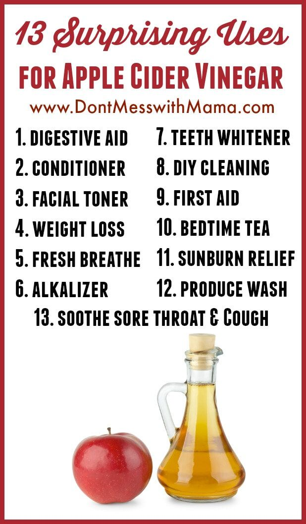 13 Surprising Uses for Apple Cider Vinegar (No. 3 is My Favorite) #acv #applecidervinegar #homeremedies - DontMesswithMama.comv