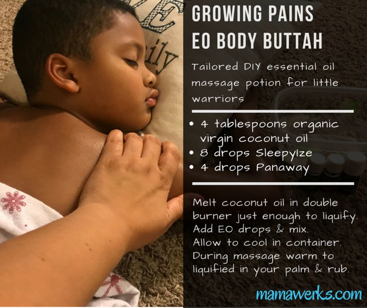DIY essential oil massage potion for little warriors with growing pains