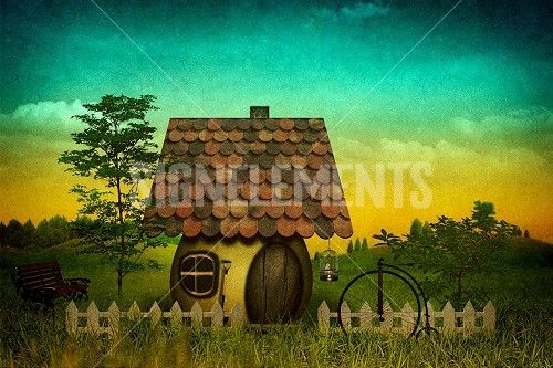 Fancy pastoral landscape with vintage cardboard added texture