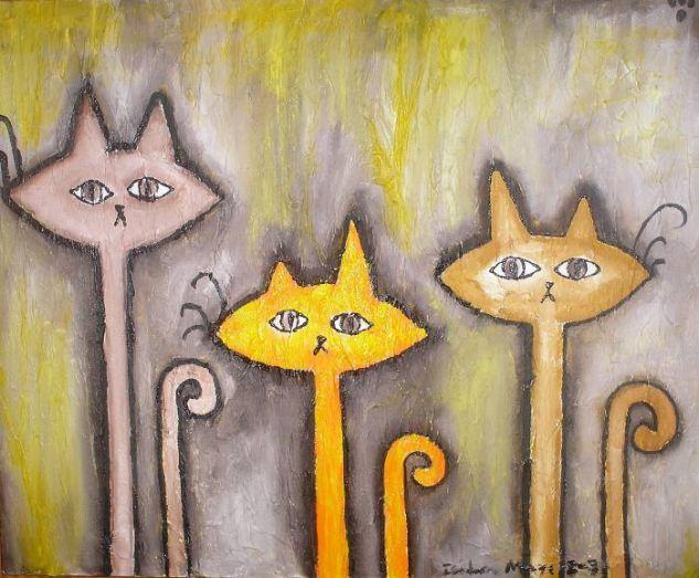 Dibujo de tres gatos a lapiz