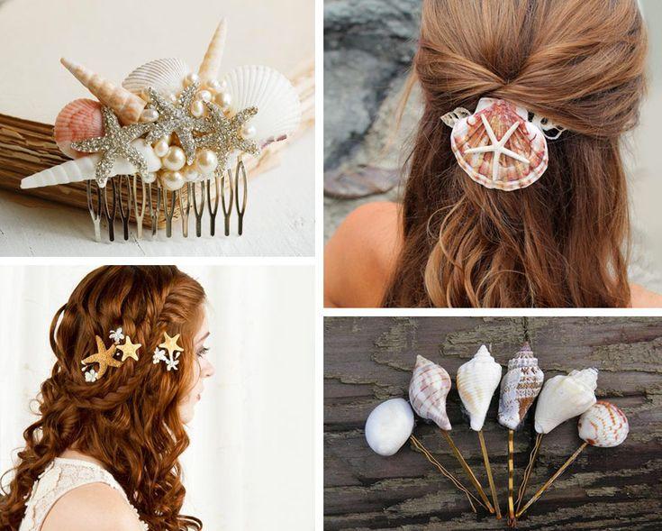 Decorazione con le conchiglie: accessori per capelli