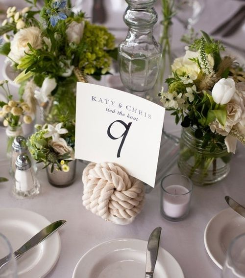 love this.: Nautical Wedding, The Knot, Table Card, Place Card, Wedding Ideas, Nautical Knot, Table Numbers, Flower