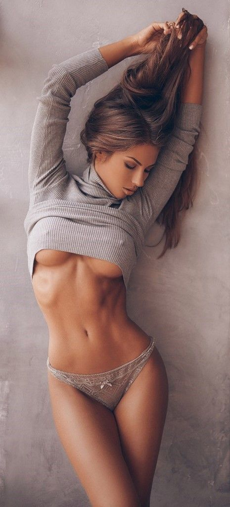 Sexy topless girl with silky hair