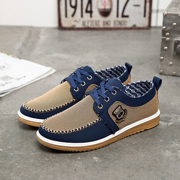 Mens Canvas Lace Up Flat Casual Shoes Loafers Sneakers - US$23.99