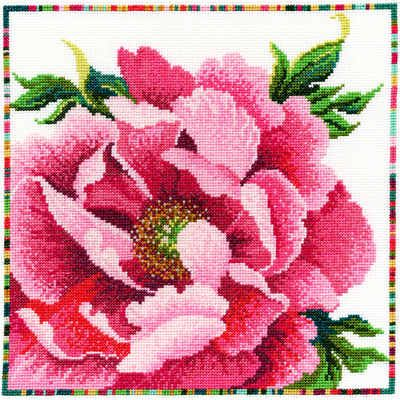 Pink Peony cross stitch kit from the Country Flowers series - a Lesley Teare design from Bothy Threads. Kit contains 14 count white Zweigart aida fabric, pre sorted stranded cottons, beads, needles, stitch diagrams and instructions.   Finished size 26cm x 26cm. This kit uses full cross stitch only.  A brand new kit will be sent directly to you by Bothy Threads - usually within 1-2 working days. © Lesley Teare