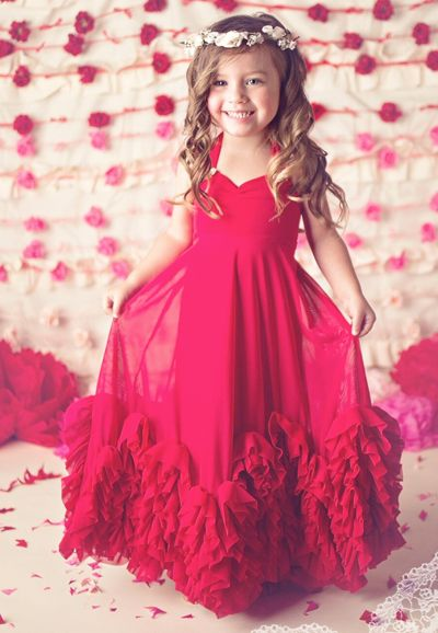 A Ruffle Affair Red Vintage Frock Red Flower Girl