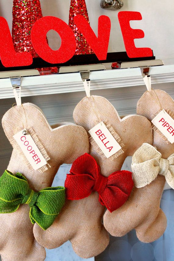 Dog Bone Christmas Stocking, Unique Burlap Pet Holiday Stocking with burlap bows. Great Quality. Many colors to choose from! Beautiful!