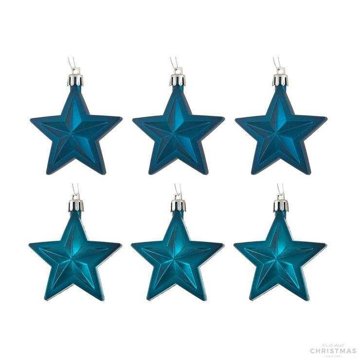 Shatterproof Christmas stars 6,5cm petrol 6 pieces