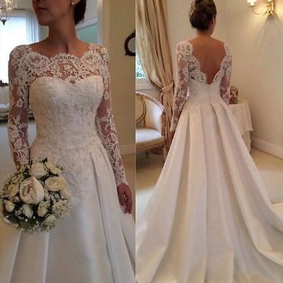 Neu-Weiss-Asymmetris-Spitze-Satin-Langarm-Applikation-Hochzeitskleid-Brautkleide…