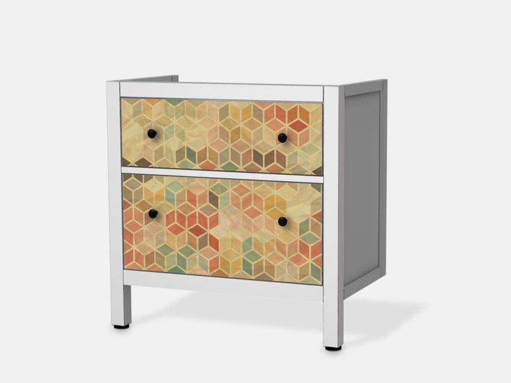 3D Retro für Hemnes Waschbeckenschrank 2 Schubladen - Front Bild 1