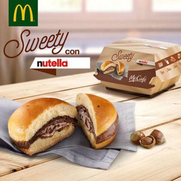 """Nutella """"burger"""" at McDonalds Italy"""