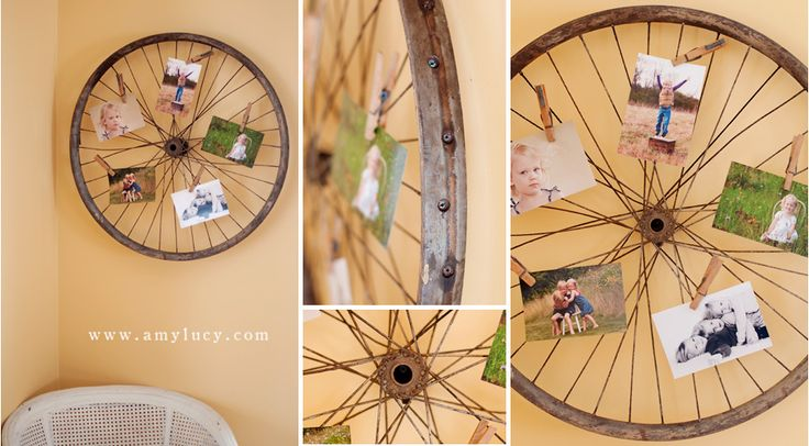 bicycle wheel as photo frame