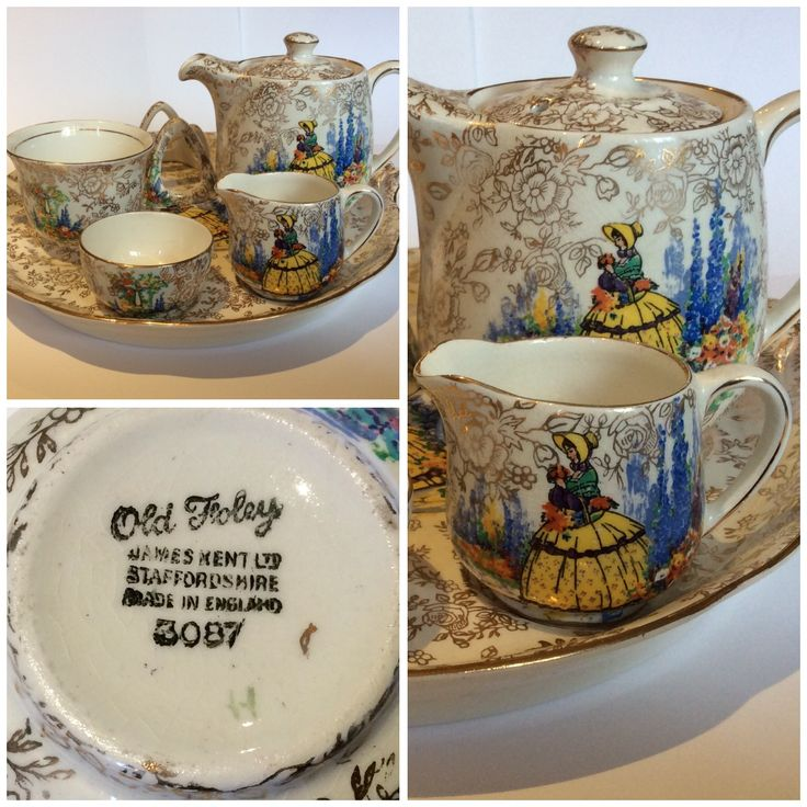 Chintz Breakfast Set, James Kent Ltd, Made in England, 3087 Teapot, Cup, Milk Jug, Condiment Pot, Toast Rack, large Tray with handles. Crinoline Lady Pattern. Bought at a Byron Bay garage sale for 20c.