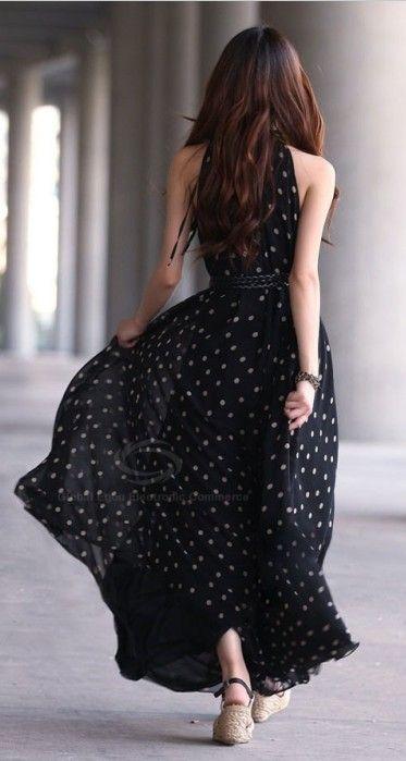 Elegant Keyhole Neckline Polka Dot Sleeveless Chiffon Women's Maxi Dress With Blet
