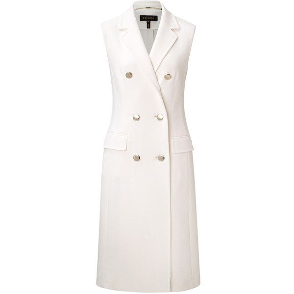 ESCADA Waistcoat Beliva ($1,725) ❤ liked on Polyvore featuring outerwear, vests, long white vest, escada, white waistcoat, vest waistcoat and white vest