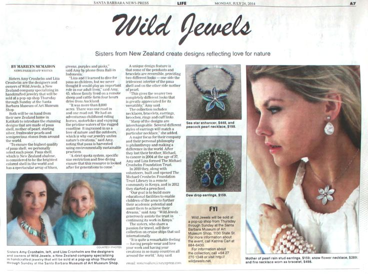 Santa Barbara News Press ARTICLE: Here is the half page article that was in the Santa Barbara News Press about Wild Jewels and their foundation work in Northern Kenya.  It was written by the great Marilyn McMahon, who is an iconic Santa Barbara journalist.
