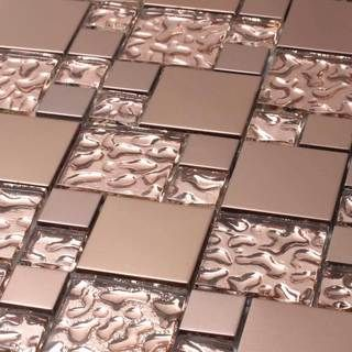 copper goddess square foot glass tiles case of 11 sheets overstock