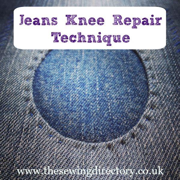 Coser un parche ovalado para reparar los pantalones vaqueros