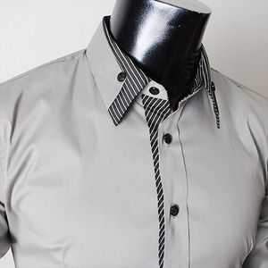 Men's long double collar cuff slim dress shirt.