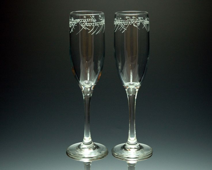 Lord of the Rings - ONE Ring Text - Etched Flute Set of 2 by NexusGlass on Etsy https://www.etsy.com/listing/171061574/lord-of-the-rings-one-ring-text-etched