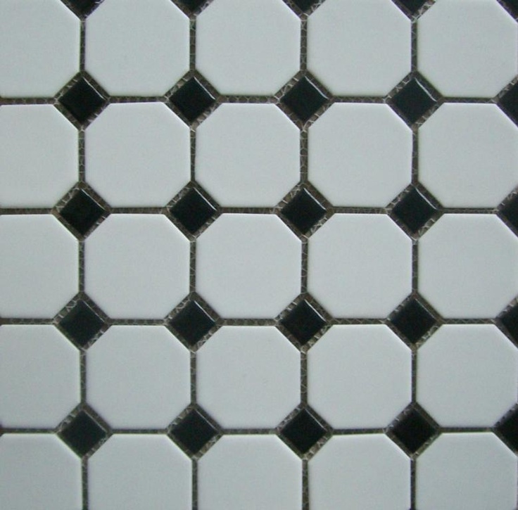 Tile for guest bath - white octagon with black squares