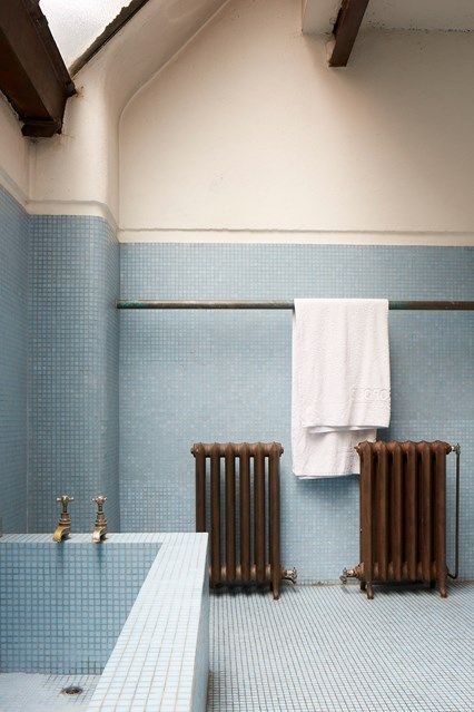 Blue Tile Bathroom - Alastair Hendy's talent for evoking the past is displayed in his Tudor home and Victorian shop - bathroom design ideas on HOUSE by House & Garden.