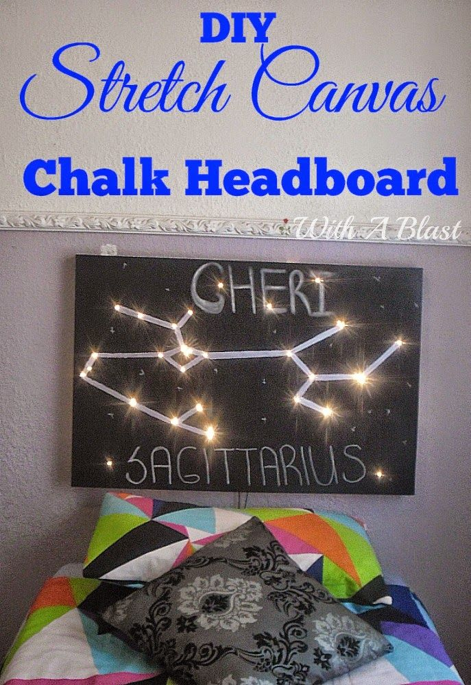 Easy DIY Chalk Headboard depicting a star sign and fairy lights used to light up ! #DIY #Headboards #ChalkProjects