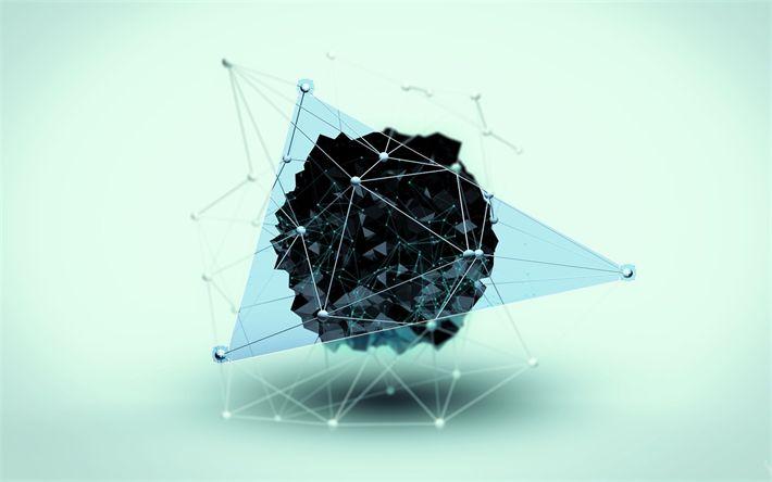 Hämta bilder trianglar, sociala nätverk, 3d, konst, kreativa, linjer