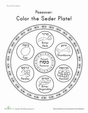 Passover First Grade Holidays Holiday Worksheets: Color the Seder Plate