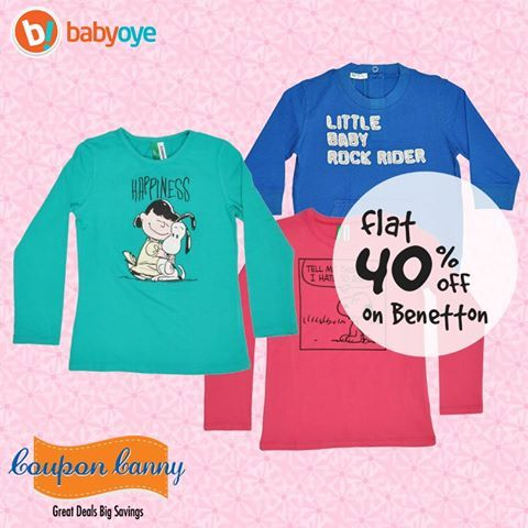 Flat 40% off on #Benetton at #Babyoye! Claim Now : http://www.couponcanny.in/babyoye-coupons/