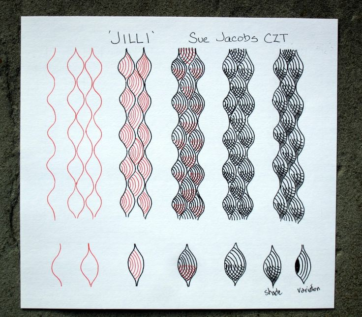 Sue Jacobs, Certified Zentangle  Teacher: 'Jilli' - new tangle pattern