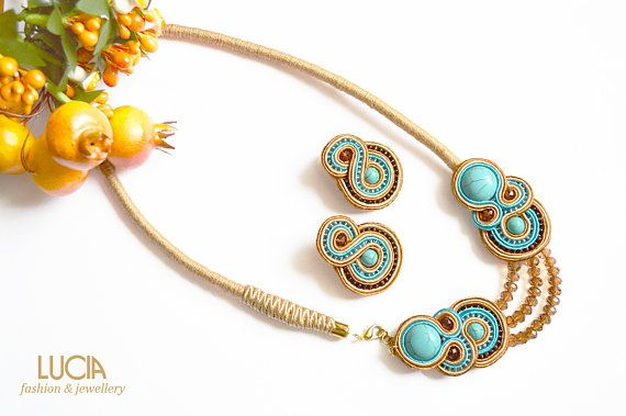 Check out this item in my Etsy shop https://www.etsy.com/listing/521625819/beige-and-turquoise-jewellery-set