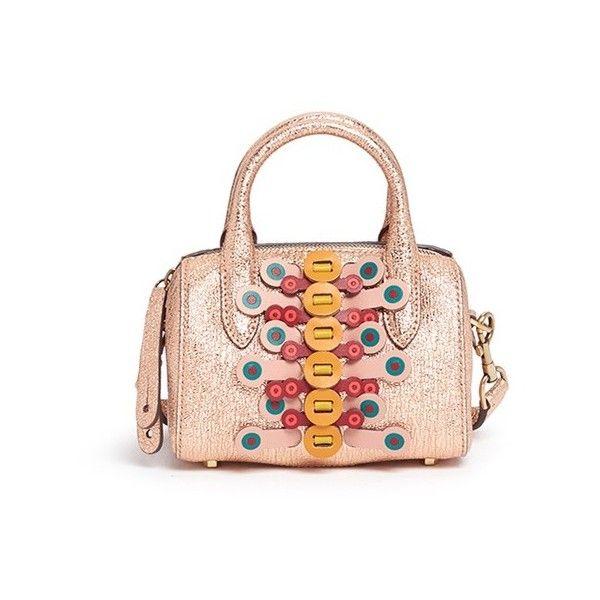 Anya Hindmarch 'Vere Flip' mini geometric barrel bag (32,255 MXN) ❤ liked on Polyvore featuring bags, handbags, metallic, metallic handbags, mini barrel bag, multi colored handbags, multi color purse and anya hindmarch purse