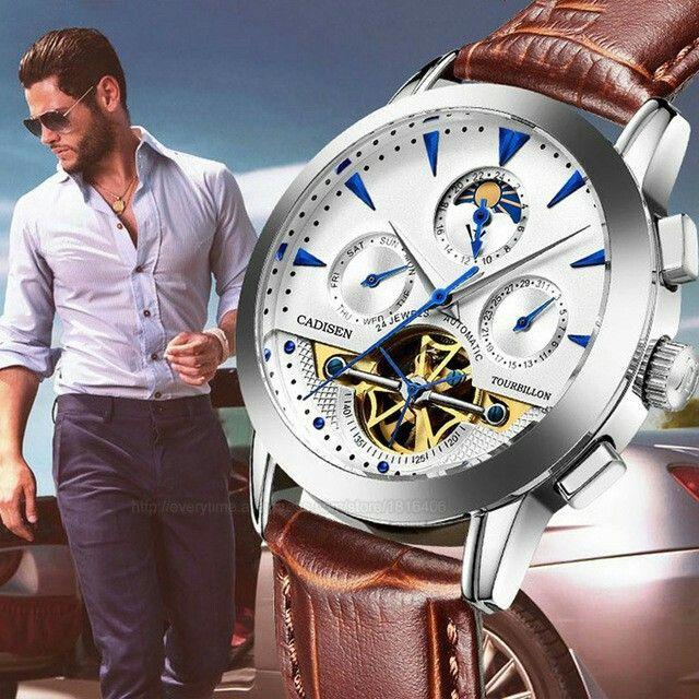 CADISEN Business Waterproof Automatic Mechanical Tourbillon Watches Men Fashion Casual Sport Watch Men's Luxury Brand Watches