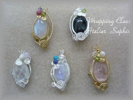 天然石のワイヤーラッピング(受講者さま作品) - Atelier Saphirの ワイヤーアートジュエリー ・ 各レッスンのご紹介