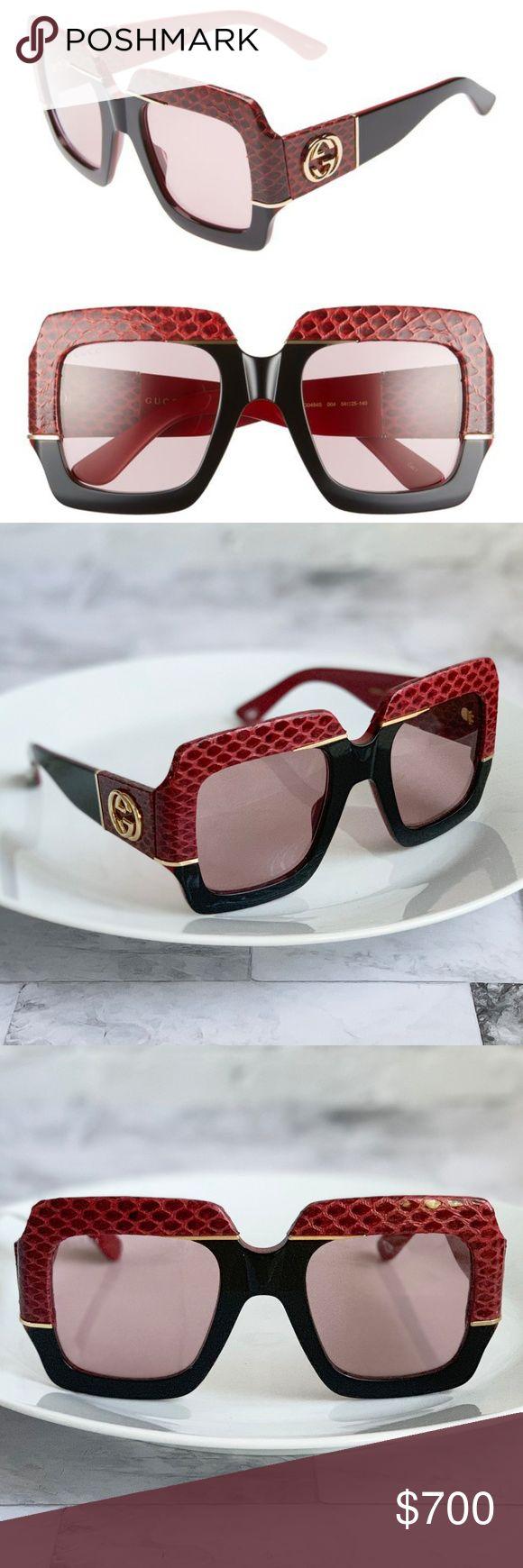 Novos GUCCI 54mm Genuine Snakeskin Square Sunglasses Novos em folha. Nunca usado. Estilo…   – My Posh Picks