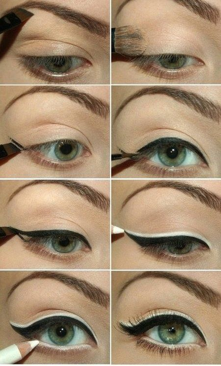 Love this look. Try NYX cosmetics for the white liner and any trusted gel or inky black liner for the classic cat eye. I like Urban Decay, Merle Norman and Loreal.