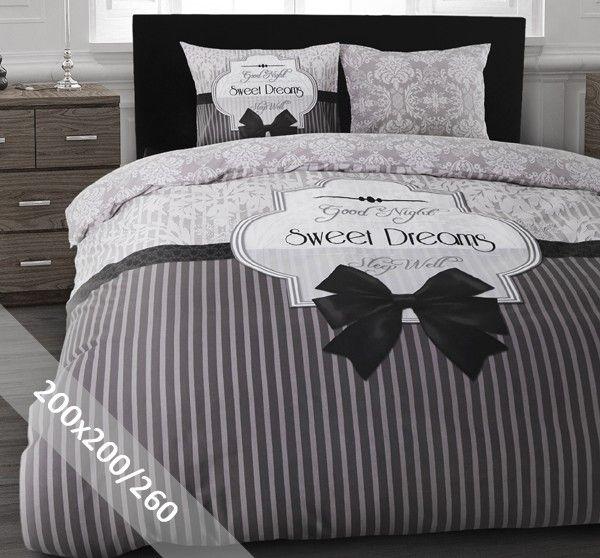 DreamHouse Dekbedovertrek - Sweet Dreams - Grijs - 200x200-260 cm - 100% zacht katoen