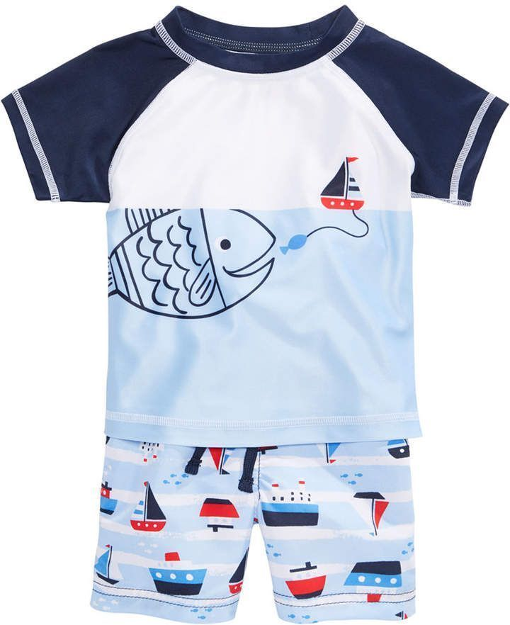 4c4a0e1e0d First Impressions 2-Pc. Fish Rash Guard & Sailboat Swim Trunks Set, Baby  Boys, Created for Macy's toddler and baby cute! Swim shorts and swim shirt  ad ...