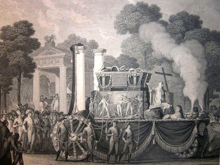 Efemérides de Madrid. 19 de marzo. Perspectiva del carro fúnebre de Daoiz y Velarde (Autor:José Riblles, Blas Ametler 1814)