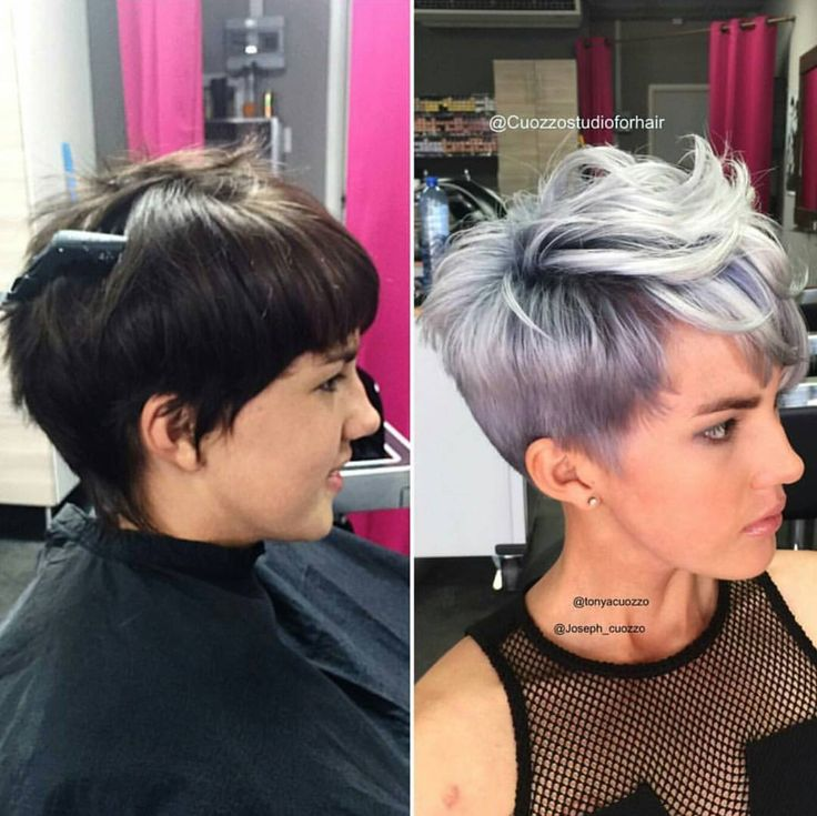 Silver pixie cut before after short hair
