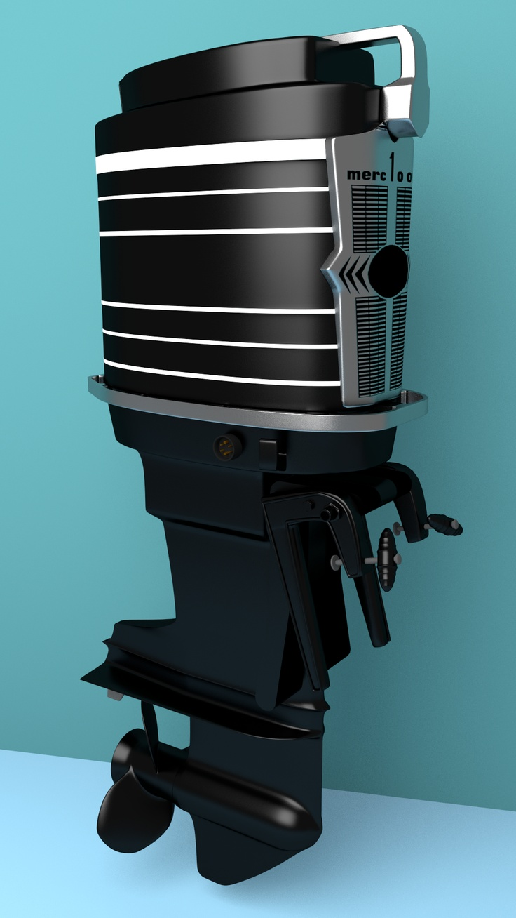 Now that the Spitfire project is winding down (I am only rendering a little movie of the scene), I've turned myself to this 1963 Mercury 100 hp outboard engine. This is the first complete render with the face plate, the grid originated in Excel. Expect more soon when I get the decals done for the engine cowling.    See http://www.powercatboat.com/VOD/1962-3-Merc1000.jpg for image of a real engine.