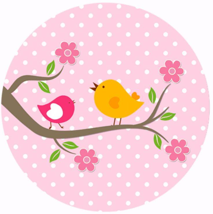 """Button """"Vogeltjes roze"""""""