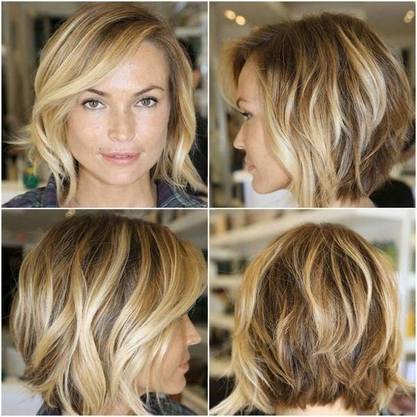 Slightly angled chin-length bob for thin hair