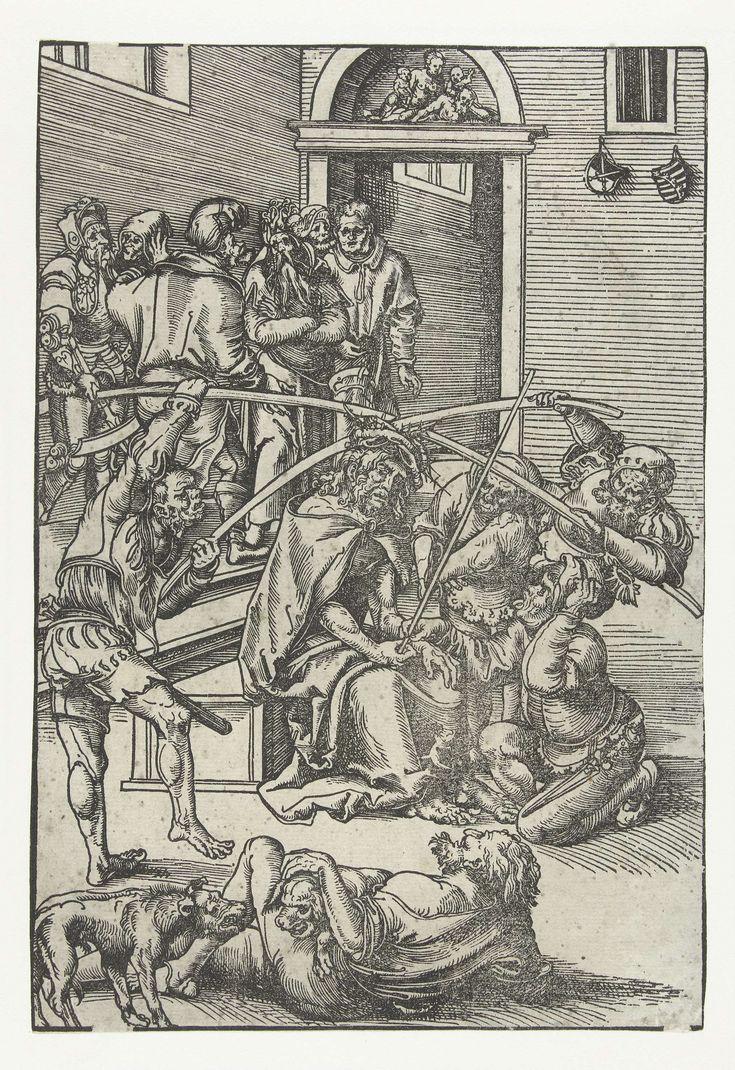 Lucas Cranach (I) | Doornenkroning, Lucas Cranach (I), 1509 | De soldaten van Pilatus hebben de zittende Christus gekroond met een doornenkroon, hem een mantel aangetrokken en een scepter in de hand gegeven. Twee soldaten drukken met twee stokken de kroon met grote doorns stevig op het hoofd van Christus. Een man knielt voor hem terwijl hij spottend zijn tong uitsteekt, een andere man ligt languit op de grond met twee honden terwijl hij lachend toekijkt. Op de achtergrond staan verschillende…