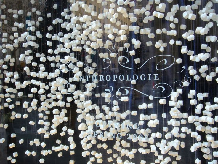 marshmallow window display.  going to make me some marshmallow garland this year!